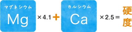 マグネシウム Mg ×4.1 カルシウム Ca ×2.5=硬 度